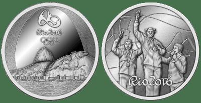Moedas das olímpiadas em prata