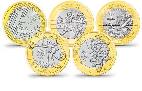 Diferentes moedas das olimpíadas